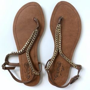 Unlisted Brown Golden Coin Thong Sandal Size 8